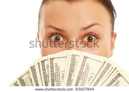 Young Woman Covering Half of Face with Dollar Notes
