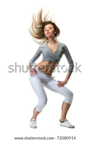 young woman dance on white