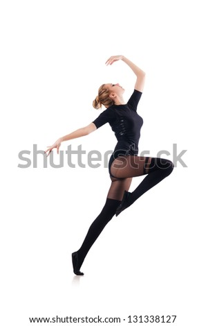 Young woman dancing on white background