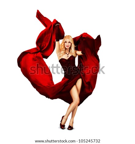Young Woman Dancing with Red Silk - stock photo