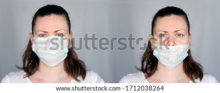 Young woman demonstrates the right and wrong way to wear a mask to avoid the spread of coronavirus Covid-19. Right way with the nose inside the mask and wrong way with the nose out of the mask