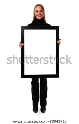 Young woman displaying a banner add isolated over a white background