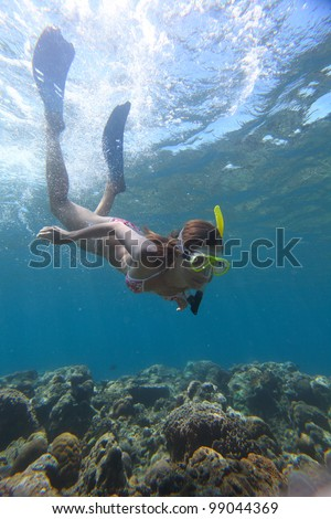 Young woman diving on a breath hold and enjoying a coral reef views in tropical clear sea