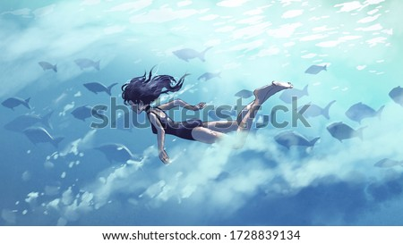 young woman diving with a school of fish in the sea, digital art style, illustration painting