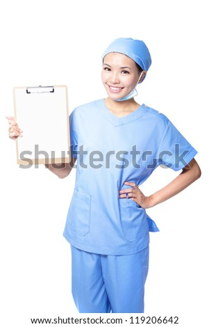 Young woman doctor or nurse smile holding empty blank clipboard sign with copy space for text isolated over white background. asian female model