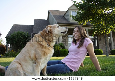 Young Woman & Dog
