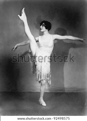 Young woman doing ballet - stock photo