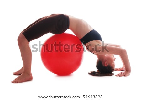 Young woman doing exercise- in bridge pose on white backgrounds