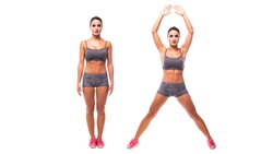 young woman doing exercise Jumping Jacks