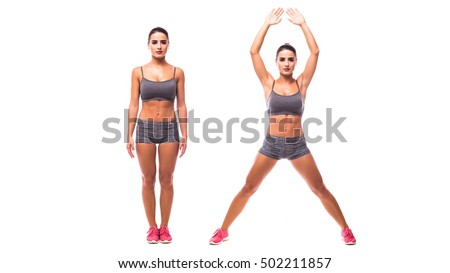 young woman doing exercise...