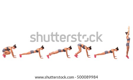 Young woman doing sport exercise. #500089984