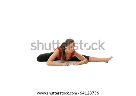Young woman doing stretching exercise, isolated on white - stock photo