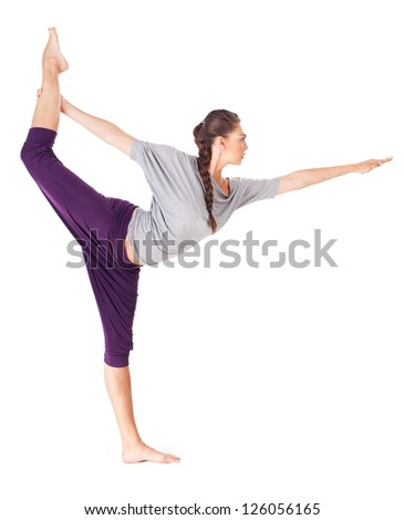 Young woman doing yoga asana Natarajasana (Lord of the Dance Pose). Isolated on white background
