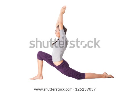 Young woman doing yoga exercise low lunge. Isolated on white background