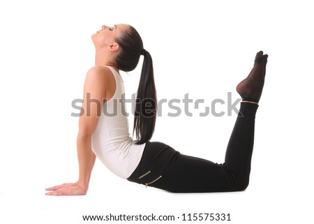 young woman doing yoga . isolated on white