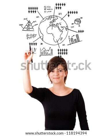 Young woman drawing globe with various diagrams isolated on white