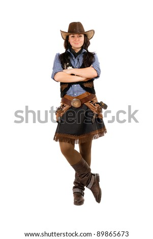 young woman dressed as a cowboy....