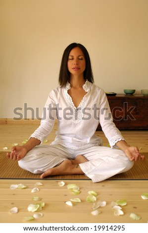Young woman during a yoga session