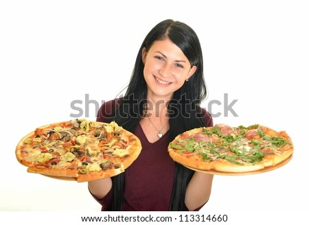 young woman eating a pizza against a white background