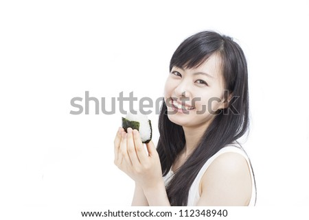 "young woman eating Japanese rice ball ""onigiri"", isolated on white background"