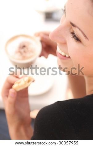 Young woman enjoying coffee time