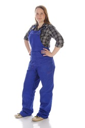 Young woman (Erin Crafts, DIY designer, trainee) with long blond hair wearing a plaid shirt and a blue work overalls. Isolated against a white background.