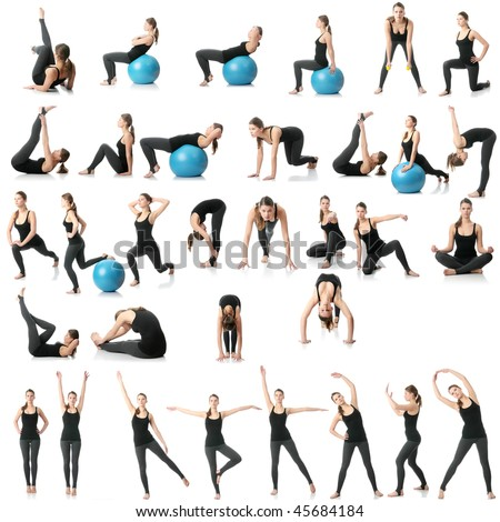 stock photo young woman exercising collage yoga fitness pilates aerobics with dump bells and ball 45684184 and home videos with suck