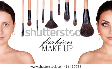 Young woman face before and after fashion makeup with professional brushes