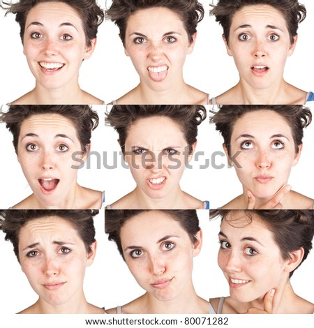 young woman face expressions composite isolated on white background - stock photo