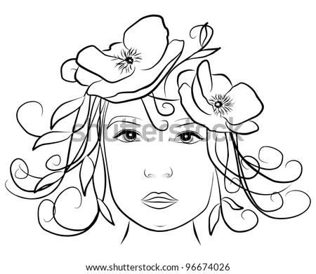 young woman face with poppies in her hair- freehand on white background