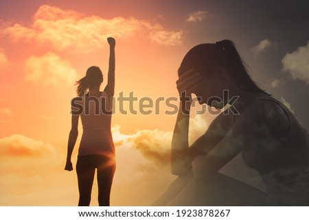 Young woman feeling happy and free overcoming mental fears and life's problems.  Photo stock ©