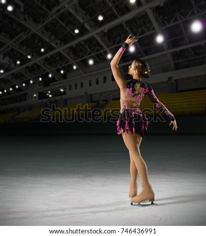 Young woman figure skater at sports hall #746436991