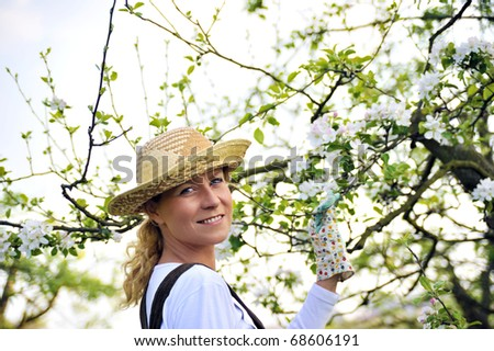 Young woman gardening - in apple tree orchard