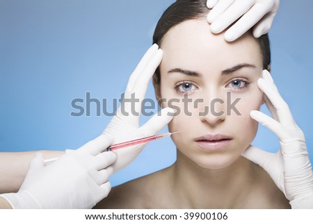 young woman gets an injection