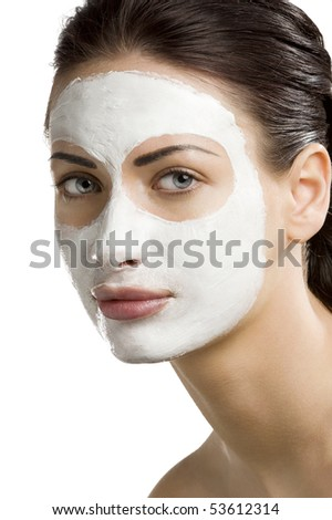 young woman getting beauty skin treatment on her face