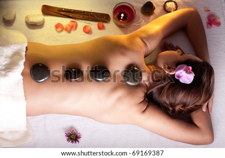 Young woman getting spa procedures.