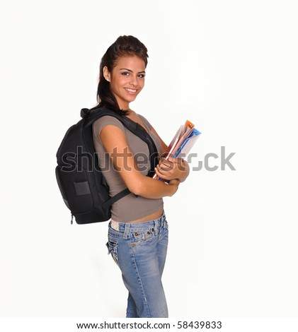 Young woman going to school with attractive school