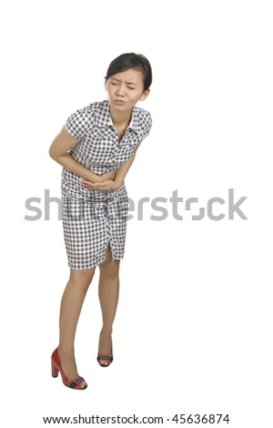 Young woman got stomach ache isolated on white background