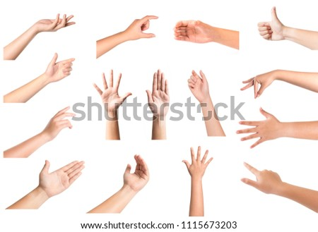 Young woman hand gesture and sign collection isolated on white background. #1115673203