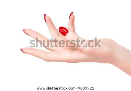Young woman hand. Isolated on white.