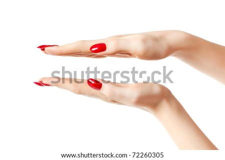 Young woman hands showing size. Isolated on white.