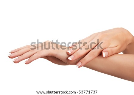 "Young woman hands with natural ""french"" manicure over isolated white background"