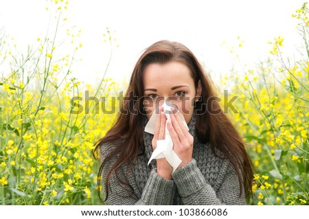 young woman has hay fever