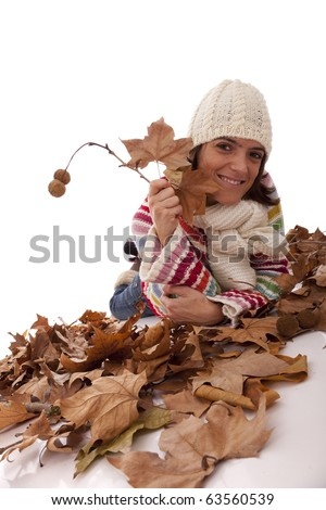 young woman having fun at the autumn season (isolated on white)