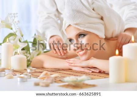 young woman having massage