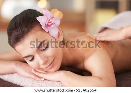 Young woman having spa procedures, closeup