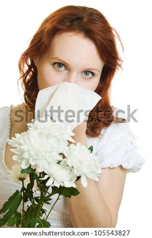 ... spring flowers allergy sneezing over white background - stock photo
