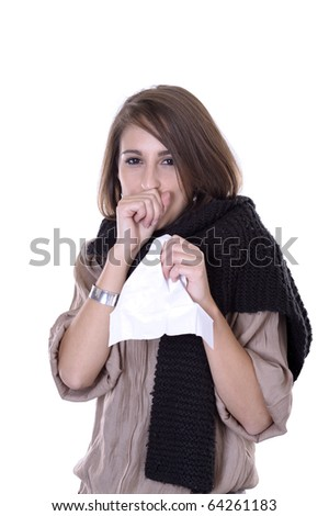 young woman having the flue. isolated on white background