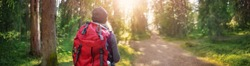 Young woman hiking and going camping in nature. Person with backpack walking in the forest