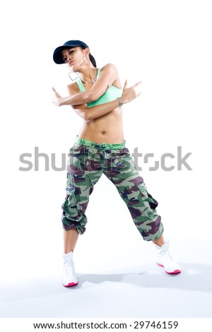 Cool Hip Hop Dance Poses Young woman hip hop dancer in